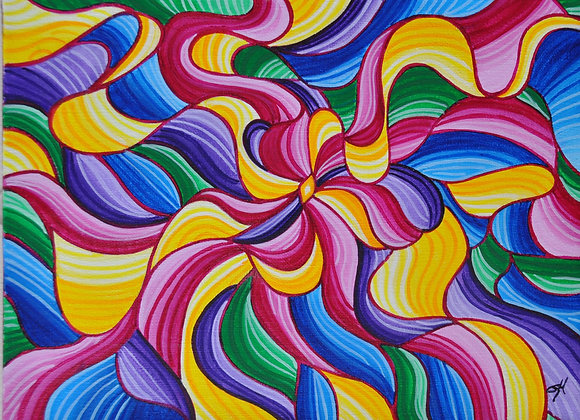 Colorful Ribbons  9 x 12