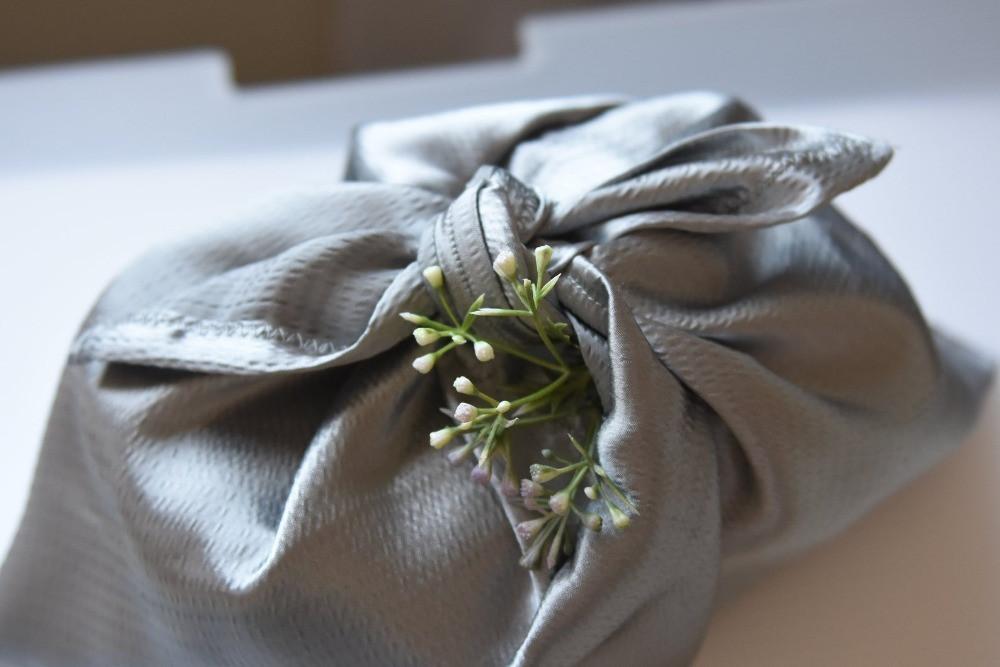 Silver Reusable Satin Cloth Gift Wrap