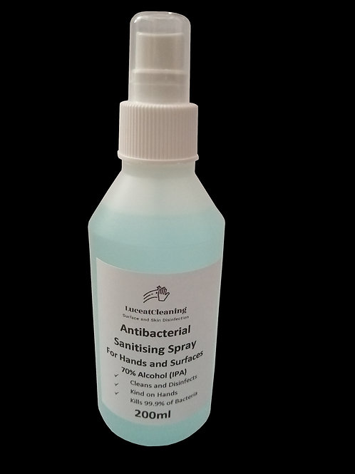 Antibacterial Sanitizing Spray for Hands and Surfaces. 70% Alcohol (IPA)