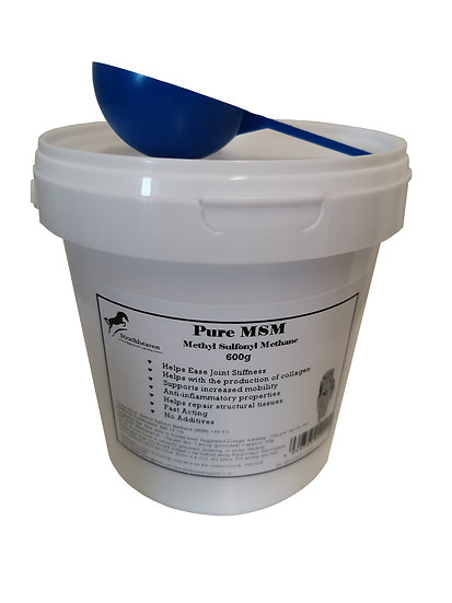Equine Pure MSM Powder. Joint Supplement for Horses 600g Tub + Scoop