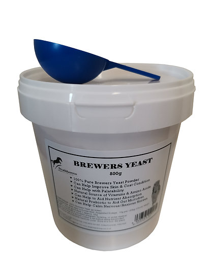 Equine Brewers Yeast Powder for Horses 800g Tub with scoop. 100% Pure.