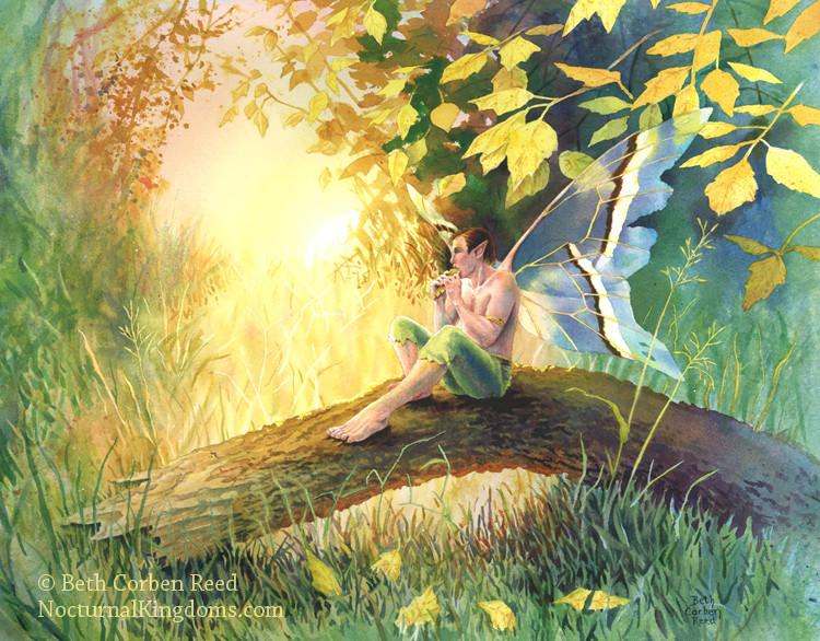 fairy man playing panpipes autumn
