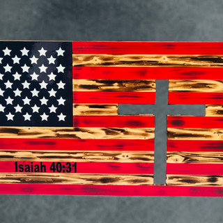 Rustic Wood Flag with Cross Cut Out