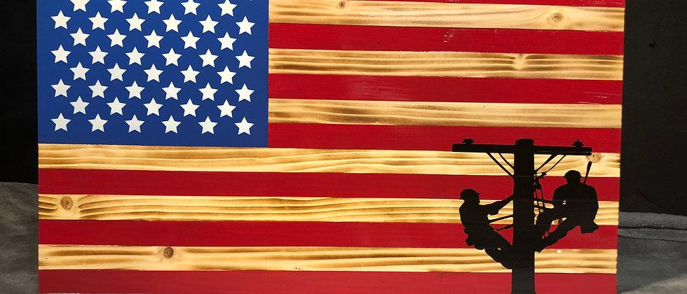Two Men Power Pole / American Flag