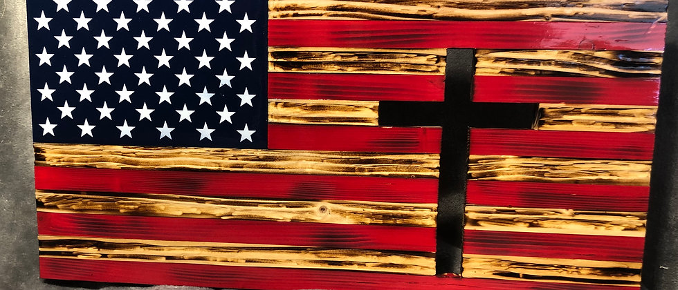 Rustic Flag with Cross Cut Out