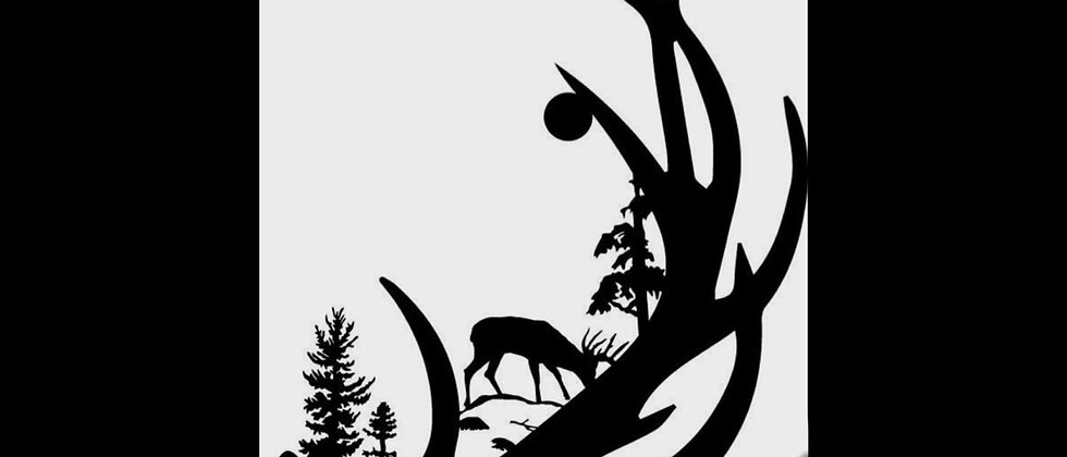 Deer antlers with deer and trees