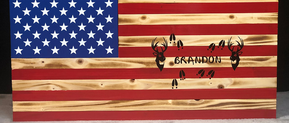 Two Deer's and Name /American Flag