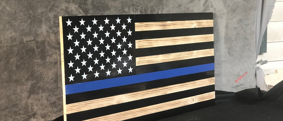 Thin Blue Line American Flag, Rustic Police Decor, Police Gift