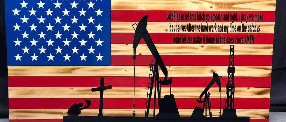 Oil well, man kneeling to the cross, verse