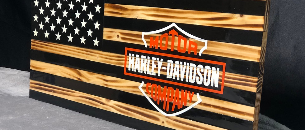 Rustic flag with Harley Davidson logo