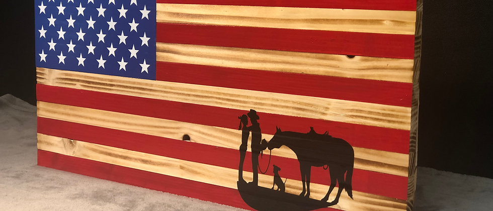 Man & Woman with Dog and Horse / American Flag