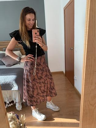Falda raso marrón y negra