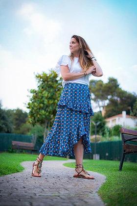 Falda azul volantes