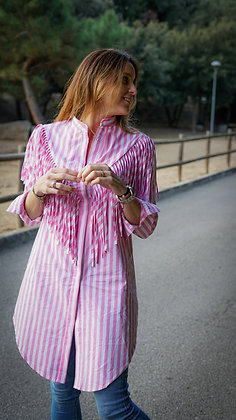 Camisa larga rayas y flecos