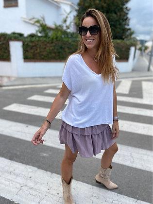 Falda mini volantes lila