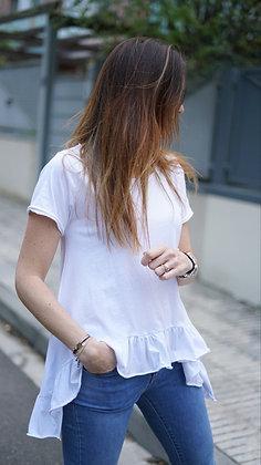 Camiseta cuello redondo volantes