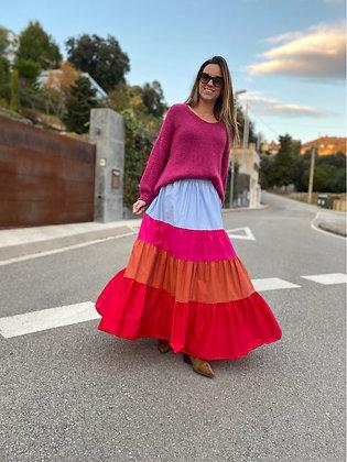 Falda volantes colores azul y rosa