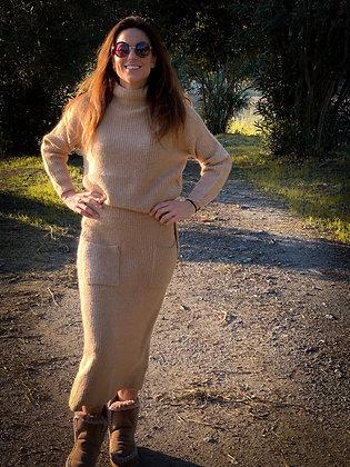Falda lana bolsillos
