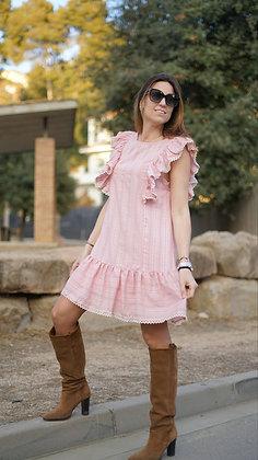 Vestido romántico azul/rosa