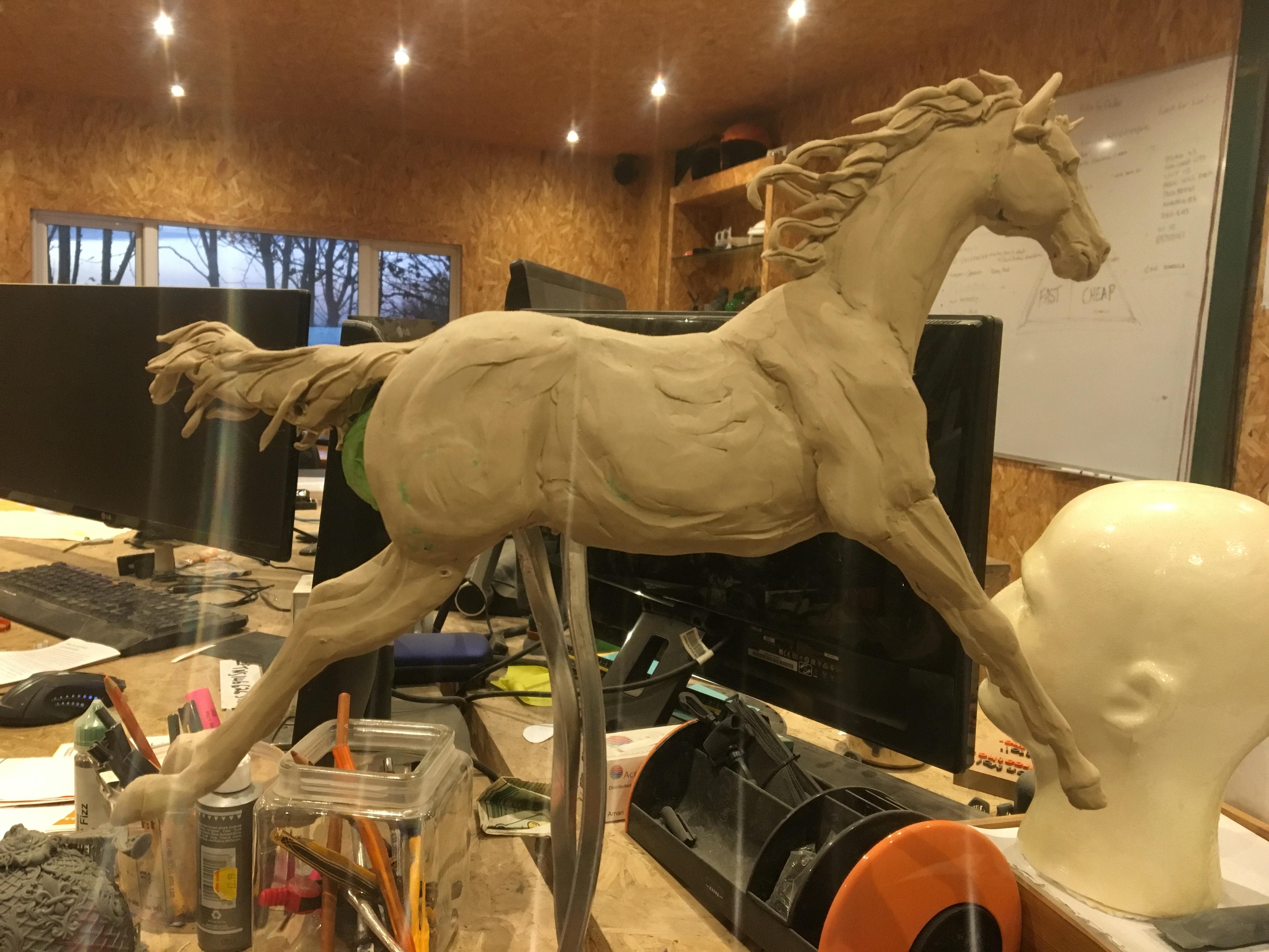Hand sculpted horse figurine
