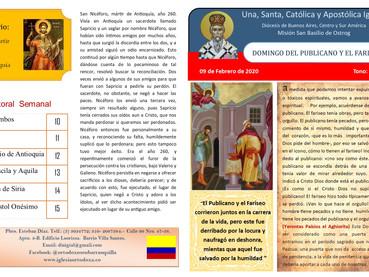 Boletín Domingo del Publicano y el Fariseo