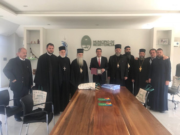 Reunión del Metropolita Amfilohije y los Obispos Kirilo y Metodije con el Intendente de Resistencia