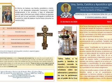 Boletín, Domingo de la Veneración de la Santa y Vivificadora Cruz