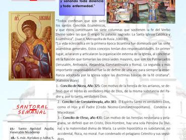 Boletín dominical, Domingo de los Santos Padres de los seis   Concilios Ecuménicos.