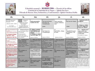 Horario de los Santos Oficios del mes de Marzo y primera semana de Abril