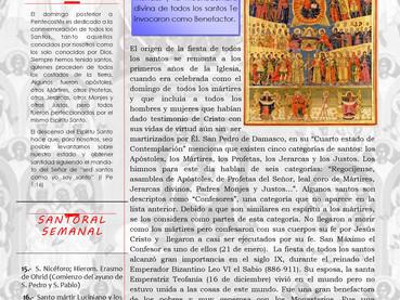 Boletín, Domingo de todos los santos