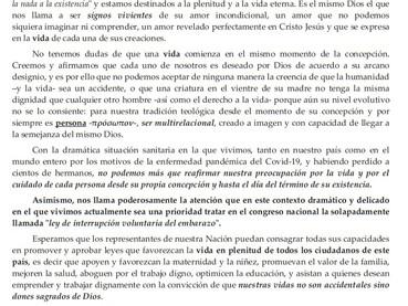 """Comunicado de los Jerarcas Ortodoxos de la Argentina """"La Ortodoxia a favor de las Dos Vidas"""""""