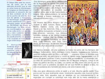 Boletín, domingo de los Antepasados del Señor Jesús Cristo.
