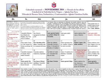 Horario de los Oficios para el mes de SEPTIEMBRE 2017