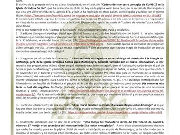Carta Aclaratoria a medios digitales en Barranquilla (Colombia) sobre la Iglesia Ortodoxa Serbia
