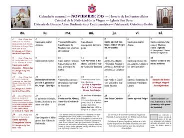 Horario de los santos oficios para el mes de JULIO 2017