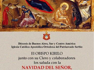 Saludo de Navidad del Obispo Kirilo e invitación a participar de los santos oficios de Nochebuena, B