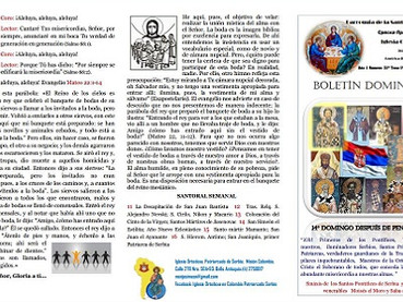 Boletin dominical Domingo 30º despues de Pentecostés - de los Ancestros de Cristo
