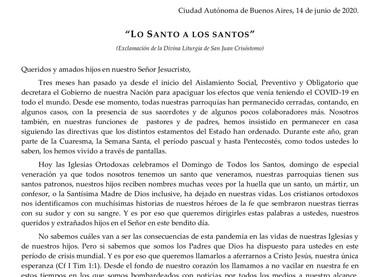 MENSAJE PASTORAL DE LOS OBISPOS CRISTIANOS ORTODOXOS EN LA ARGENTINA