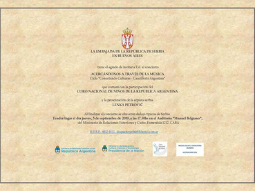 Este Jueves 5 septiembre, Concierto invita la Embajada de Serbia en la Argentina