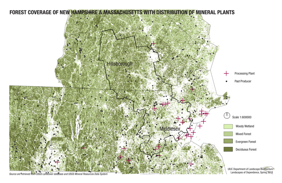 Forestation and Mineral Plants in Massachusetts and New Hampshire