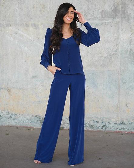 Pantalón palazzo azul