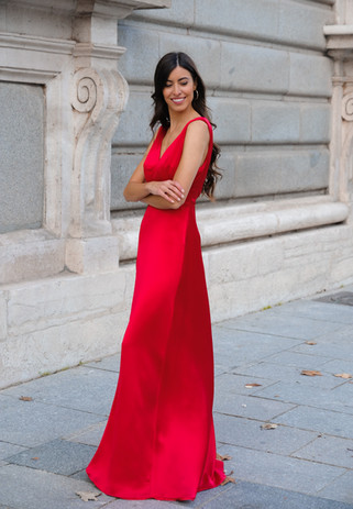 Vestido Dalia rojo satén