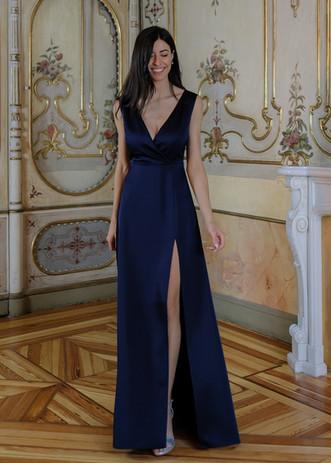 Vestido Dalia azul marino satén