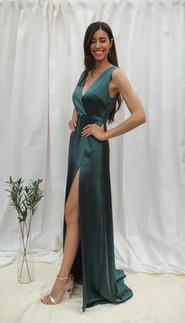 Vestido Dalia verde satén