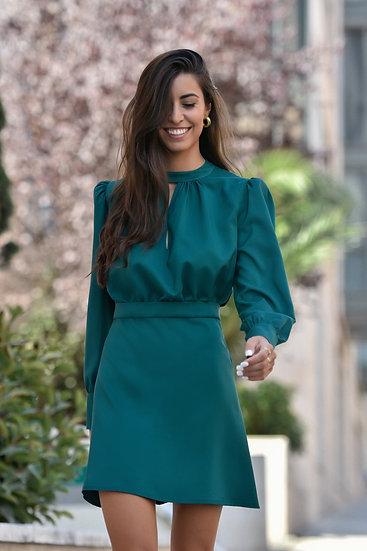 Vestido ORQUÍDEA verde botella
