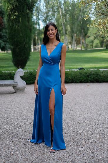 Vestido DALIA Azul satén