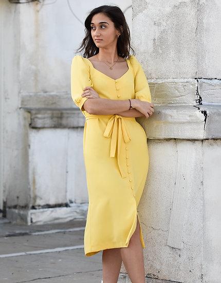 Vestido midi amarillo