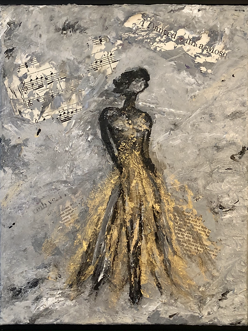 Woman in gold dress