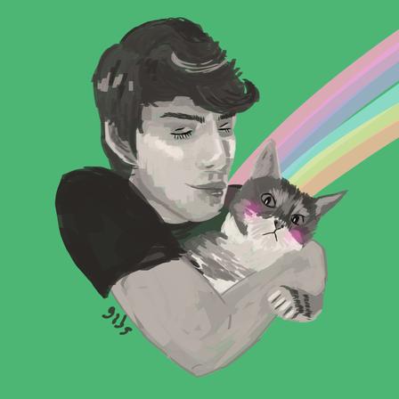 Menino e seu gatinho