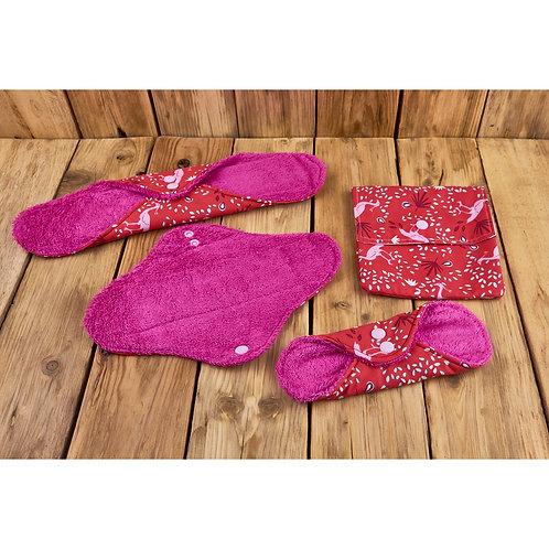 Lot 3 serviettes hygiéniques/fuites urinaires lavables taille S/M/L + pochette